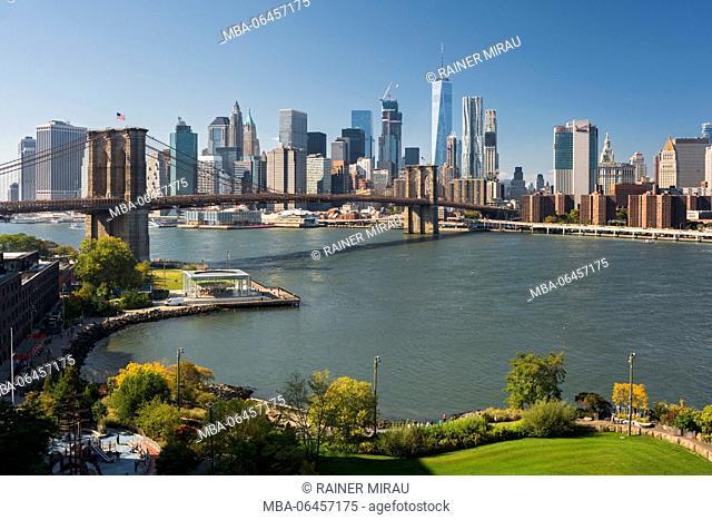 Brooklyn Bridge, East River, Manhattan, New York city, the USA