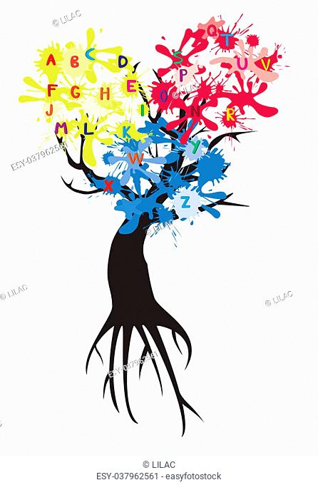 vector tree with ink spots and letters