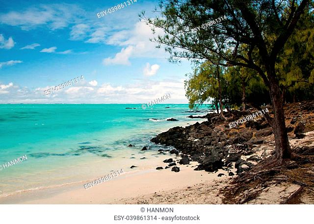 Beach on the island of Mauritius in ile aux cerfs
