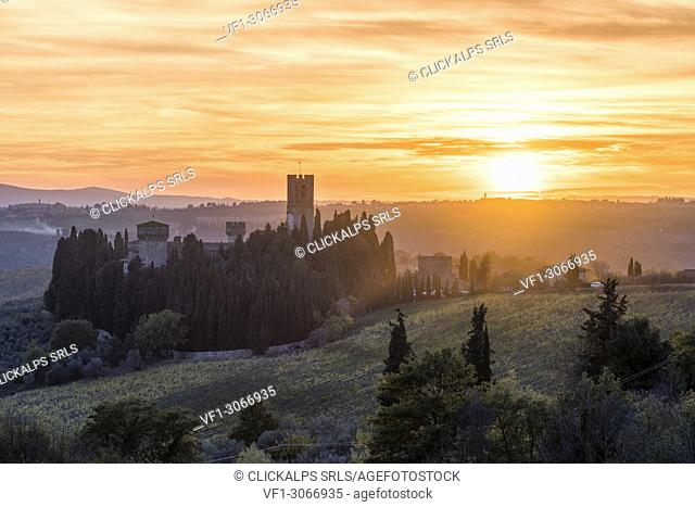 Badia a Passignano at sunset. Tavernelle Val di Pesa, Florence province, Tuscany, Italy