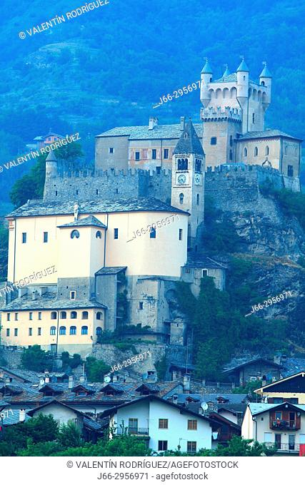 Castle of Saint-Pierre in the valley of Aosta. Italy