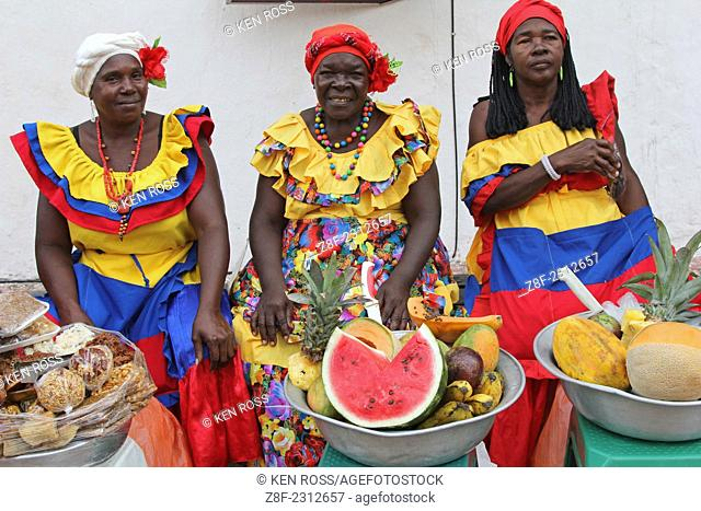 Women in Traditional Outfits selling Fruit, Old Town, Cartagena, Colombia