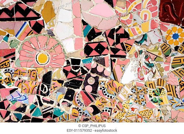 Colorful mosaic in Antoni Gaudis Park G�ell in Barcelona, Spain