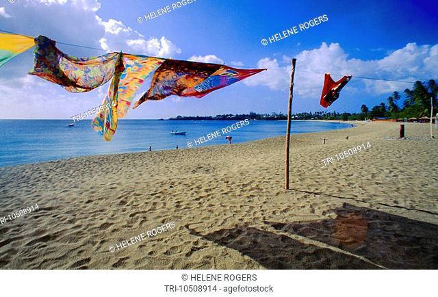 Turtle Beach Tobago Sarongs Blowing in Wind