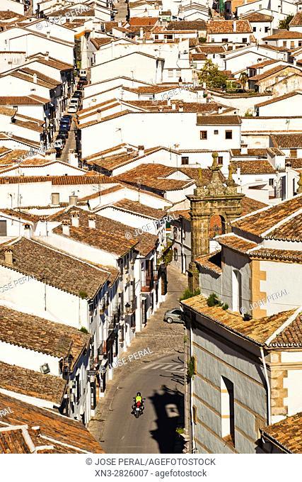 Motorbike, Grazalema town, Parque Natural, Natural Park Sierra de Grazalema, White Towns, Pueblos Blancos, Cadiz province, Andalusia, Spain, Europe
