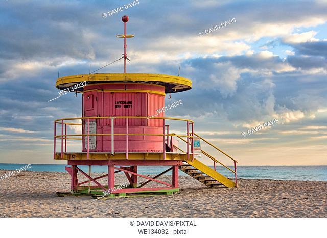 Life guard station on South Beach Miami Florida USA