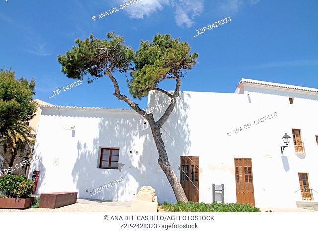 Mediterranean architecture in Dalt Vila Ibiza Balearic islands Spain