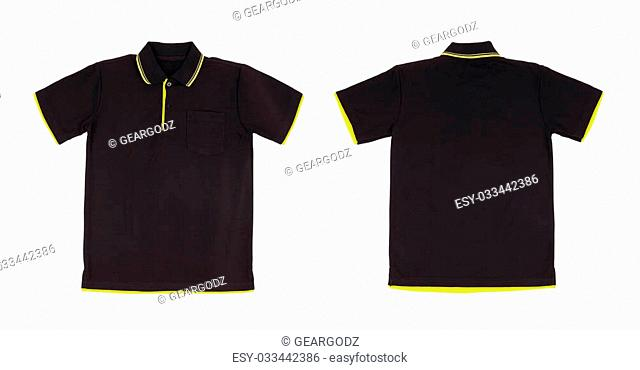 blank polo shirt set (front, back) on white background