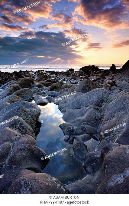 Rockpool and sunset at Sandymouth, Cornwall, England, United Kingdom, Europe