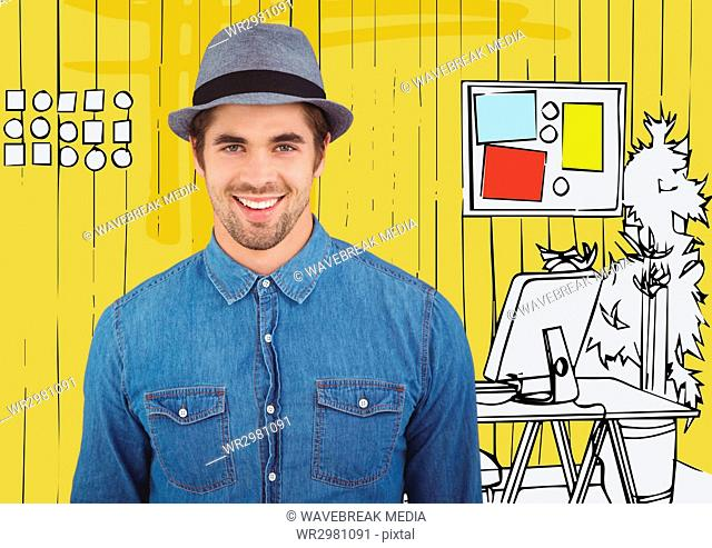 Millennial man smiling against yellow hand drawn office