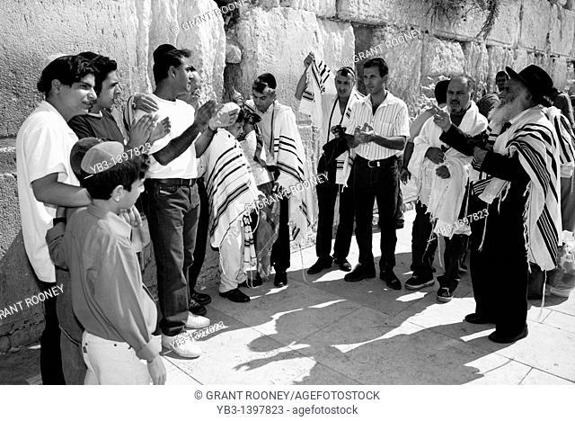 Bar Mitzvah, Western Wall, Old City of Jerusalem, Israel c 1994