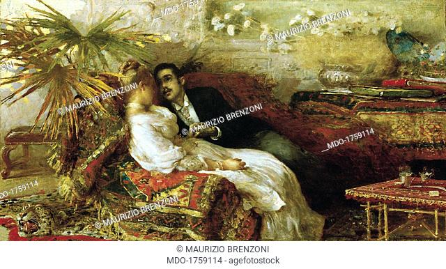 Love of Simoni, by Angelo Dall'Oca Bianca, 1886, 19th Century, oil on canvas. Private collection. Whole artwork view. Two lovers are laying on a couch