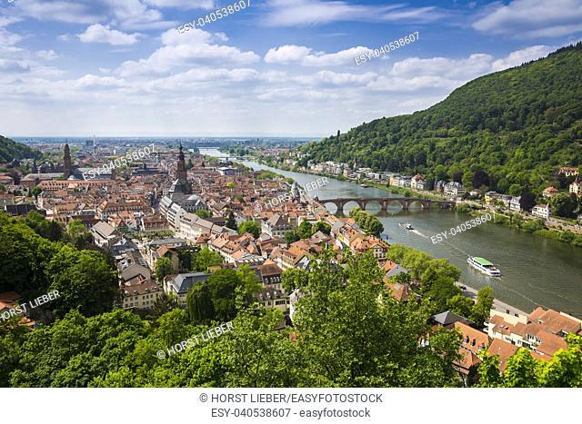 View from Heidelberg Castle to Heidelberg and Neckar-Heidelberg, Baden Wuerttemberg, Germany