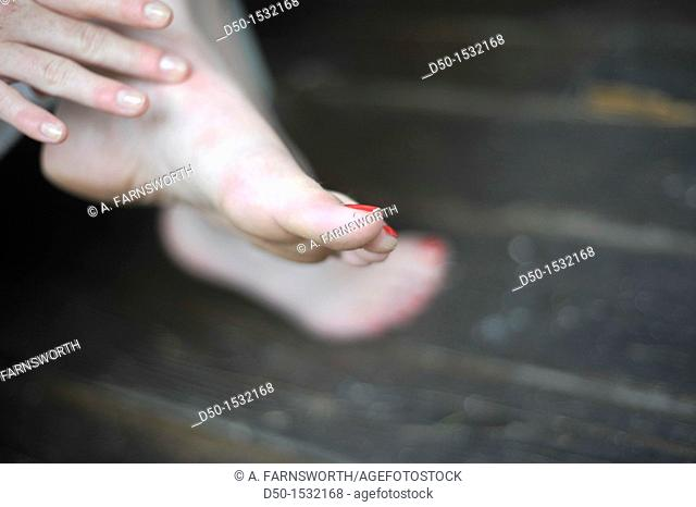 Feet and nail polish, Medevi, Sweden