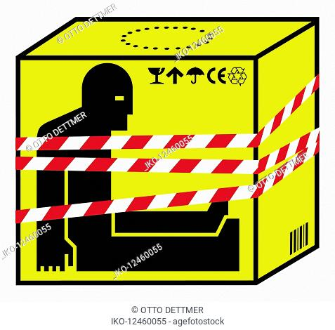 Refugee inside of box fastened with hazard tape