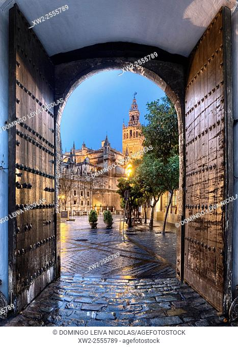 World Heritage, Cathedral, Giralda, tower, evening view, Seville, Andalucia, Spain, city view
