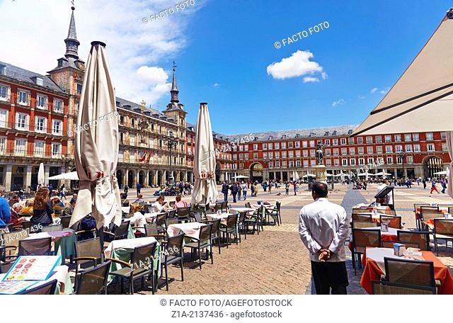 Terraces at the Plaza Mayor. Madrid. Spain