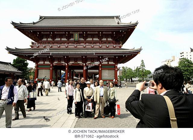 Japan, Tokyo: Shrine festival, called Matsuri. Asakusa Kannon Shrine Temple district. Nio-mon/Hozo-mon-gate