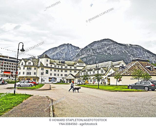 A hotel and other businesses in Eidfjord, Norway
