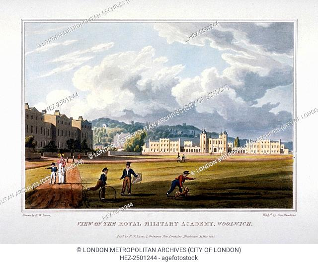 Royal Military Academy, Woolwich, Kent, 1821. View showing children in the foreground playing with a hoop, a kite and a dog on the grass with the buildings of...