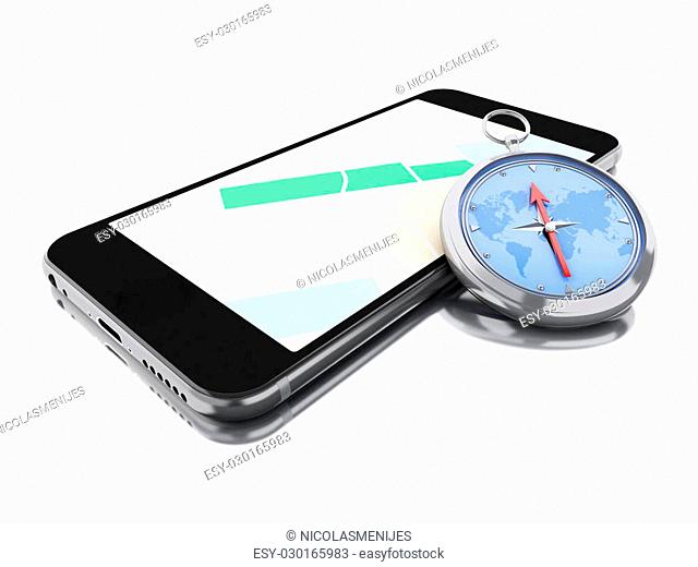 3d renderer image. Smartphone with a map and a compass. Navigation concept. Isolated white background