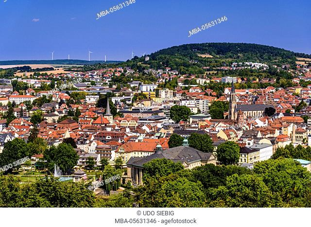 Germany, Bavaria, Lower Franconia, 'Fränkisches Saaletal' (Saale valley), Bad Kissingen, city centre, view from the Altenberg