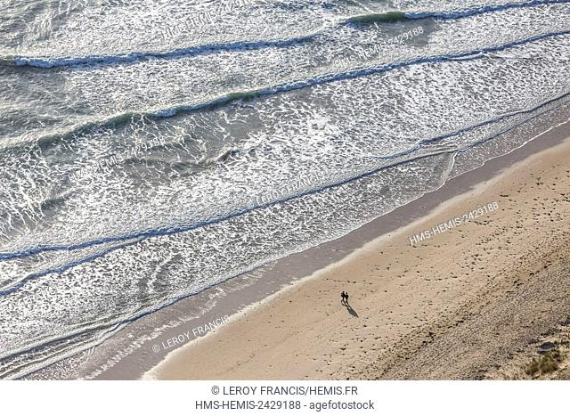 France, Vendee, La Tranche sur Mer, waves on the beach (aerial view)