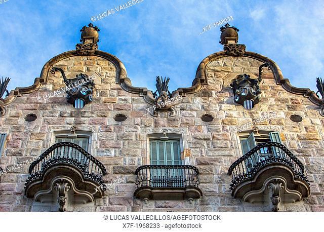 Detail of Casa Calvet by Antoni Gaudi, Barcelona, Catalonia Spain