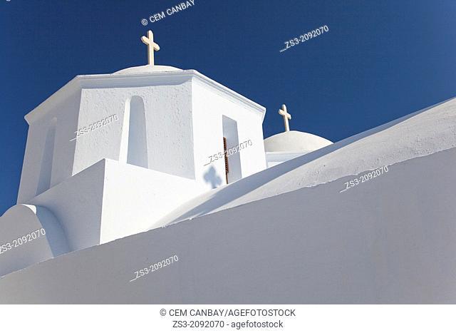 Orthodox church in the old town, Chora, Amorgos, Cyclades Islands, Greek Islands, Greece, Europe