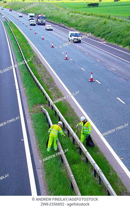 Highways Agency litter picking, M6 Cumbria England UK