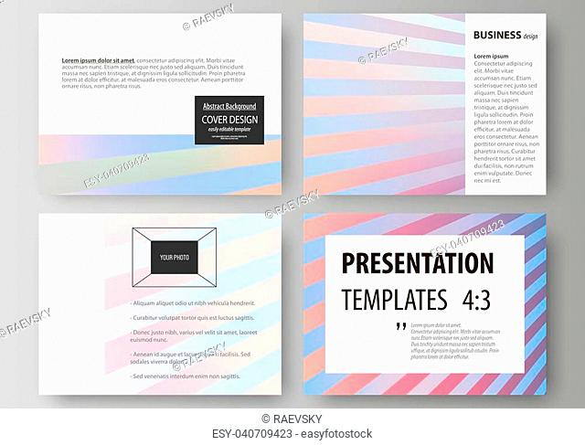 Set of business templates for presentation slides. Easy editable abstract vector layouts in flat design. Sweet pink and blue decoration, pretty romantic design
