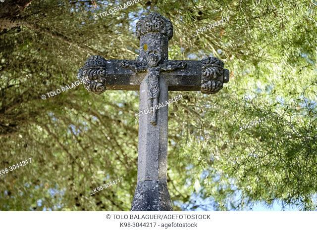 Creu de Sant Salvador, siglo XVII, - creu d'es corral d'en Nofret, creu d'es Porcol , creu de les Garrigues -, camino viejo de Sant Salvador, Felanitx, Mallorca