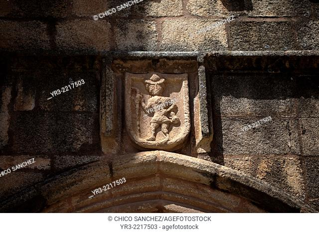 An image of Saint James decorate the Iglesia de Santiago church in Caceres, Extremadura, Spain. This church is the start of the Silver Route Vía de la Plata of...