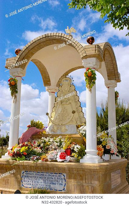 Virgen del Rocio in Guadiamar river in Quema river ford. Rocío road. Huelva province. Andalucia. Spain