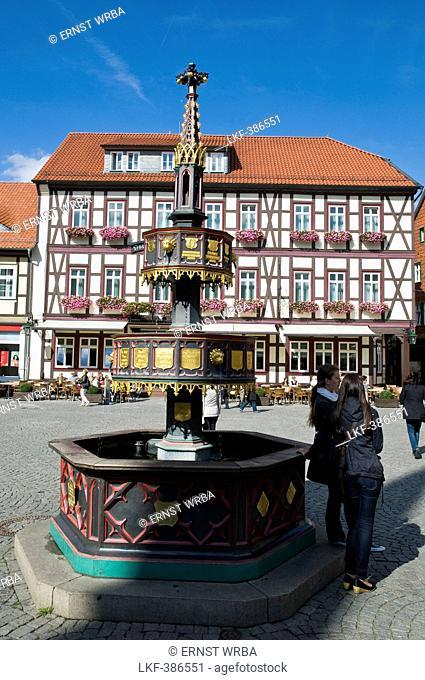 Fountain, hotel Weisser Hirsch, White Stag, Wernigerode, Harz, Saxony-Anhalt, Germany