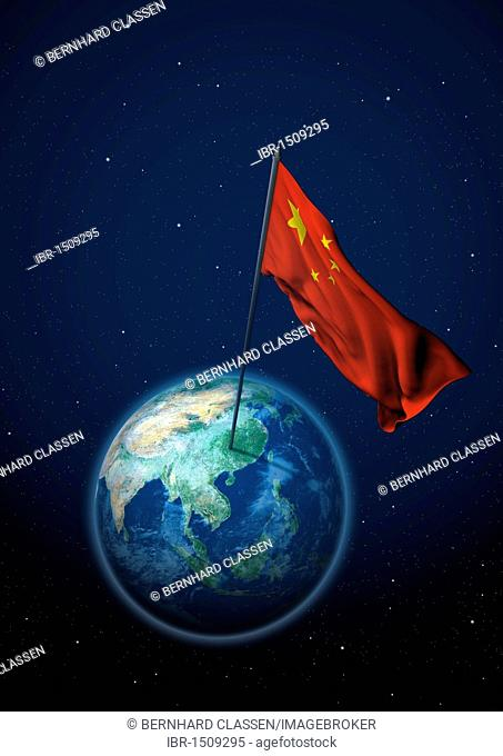 National flag of China set up on the globe