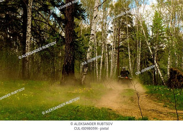 Rear view of man quadbiking on dusty forest dirt road, Russia