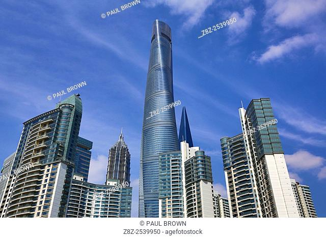 The Shanghai Central Tower skyscraper building in Luijiazui, Pudong, Shanghai, China