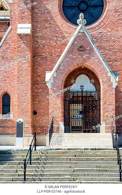 Calvinist church in Budapest, entrance, Hungary