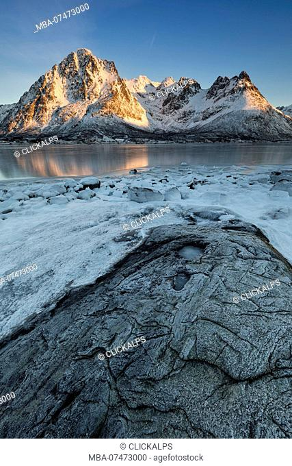 sunrise at Austnesfjorden, municipality of Vagan, Lofoten Island, Norway, Europe