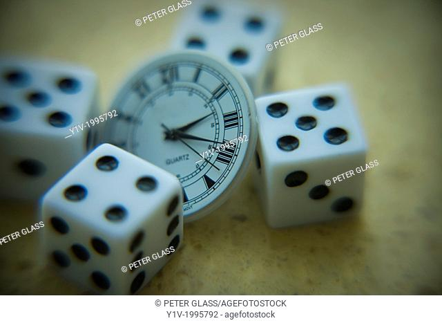 Dice and the inside of a wristwatch
