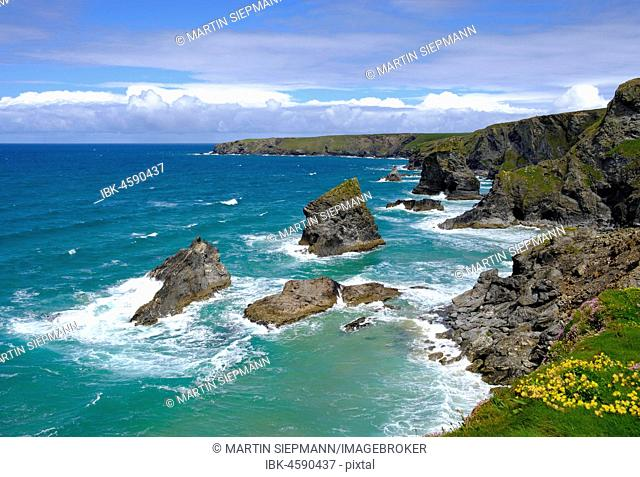 Rocky Coast Bedruthan Steps, near Newquay, Cornwall, England, Great Britain