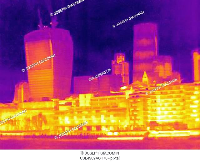 Thermal image of city skyline, London, England