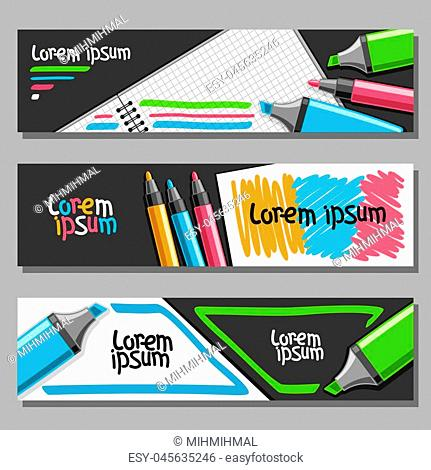 Vector set of horizontal Banners with colorful Markers, 3 layouts for website headers with blank checkered note book, set of vivid felt tip pens and highlight...