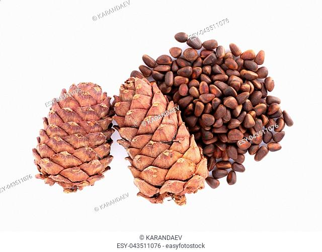 Pine nuts. Isolated on white background