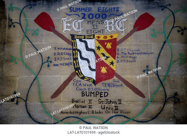 Exeter College. Image painted on wall. List of acheivements of Bumps,rowing races