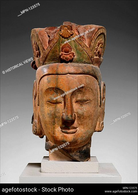 Period: Northern Qi dynasty (550-577); Date: ca. 565-75; Culture: China; Medium: Limestone with pigment; Dimensions: H. 32 in. (81.3 cm); W. 17 1/2 in