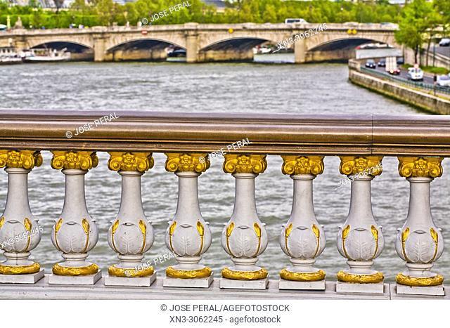 River Seine seen from Pont Alexandre III Bridge, Paris, France, Europe