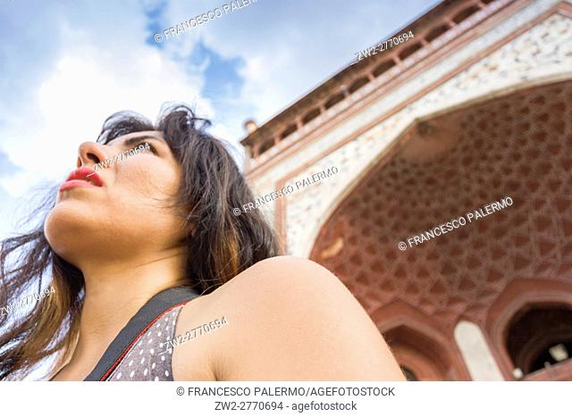 Tourist visiting the Taj Mahal monument. Agra, Uttar Pradesh. India