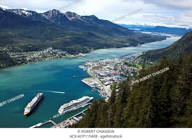 From left to right, high angle view of Douglas Island, the Gastineau Channel and Juneau, Alaska, U.S.A